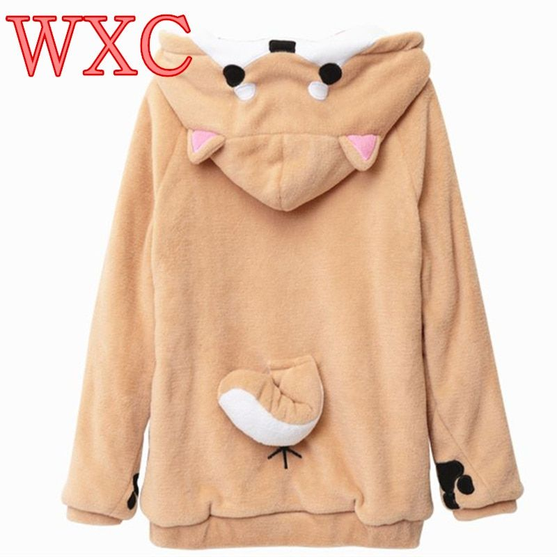 Doge Women Hoodies Ear Hoodie Pouch Women's Clothing  Pullover Sweatshirt Vetement Kawaii Japanese Anime Tail WXC