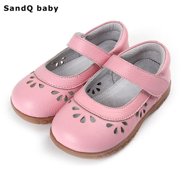 2017 Summer Genuine Leather Kids Sandals Hollow Out Soft Bottom Children Casual Shoes Girls Princess Shoes Baby Toddler Shoes