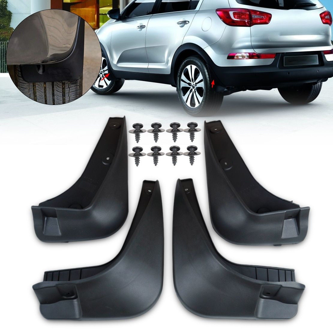 CITALL Rubber Mud Flaps Flap Splash Guards Mudguard Mudflaps Fenders Protector For Kia Sportage R 2010 2011 2012 2013 2014
