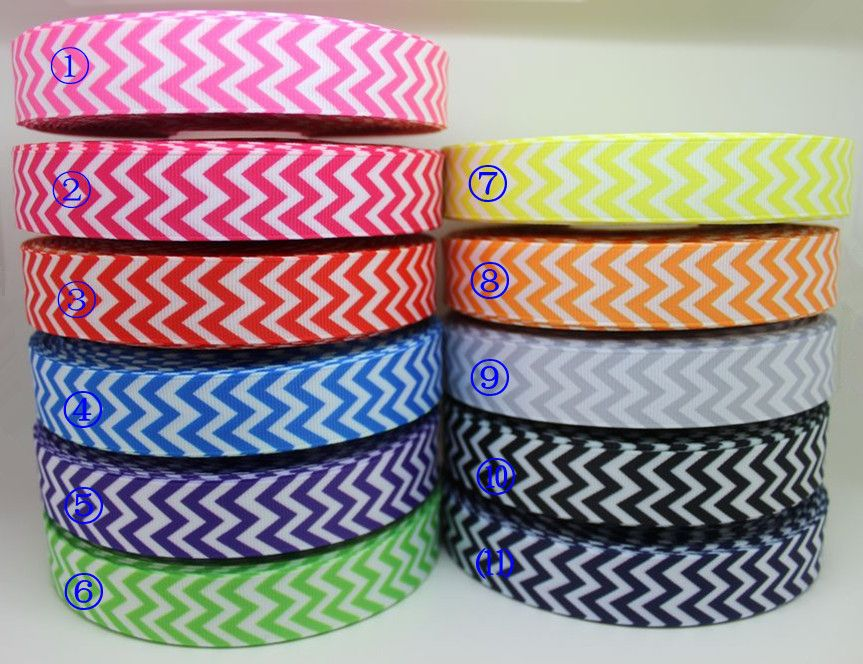 7/8'' Free shipping 11 colors mixed chevron printed grosgrain ribbon hairbow diy party decoration wholesale OEM 22mm B411