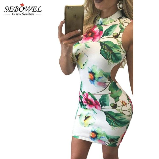 SEBOWEL  2016  High Neck Slim Bodycon Elegant Party Dress Hollow Back Pencil Midi Dress Summer Sexy Sleeveless Dress Club Wear