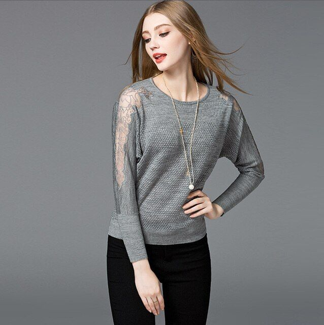 New Arrival 2017 Spring and Autumn Women's Fashion Long-Sleeve O-Neck Lace Stitching Pure Color Loose Style Pullovers