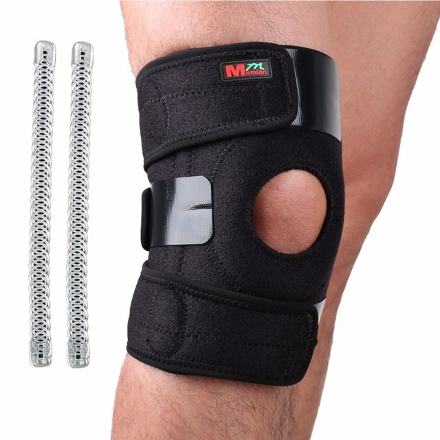 Free Shipping Adjustable Sports Leg Knee Support Brace Protector Knee Pads Sleeve Cap Patella Guard 2 Spring Bars,One Size,Black