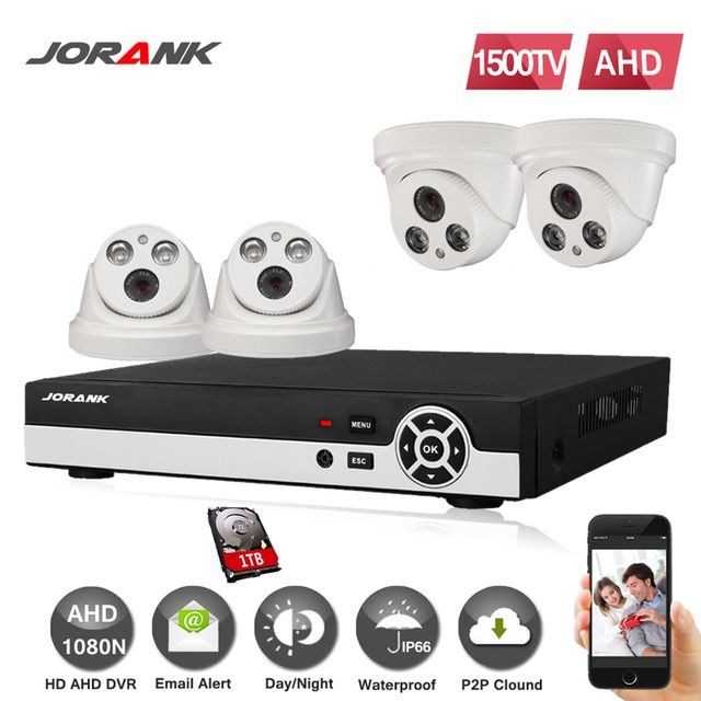 4CH 720 P AHD DVR System 1280 * 720 1.0MP 1200TVL indoor outdoor Night Vision Surveillance Camera IR CCTV kits for Home Security