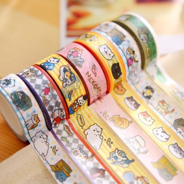 20 pcs/lot DIY Japanese Paper Washi Masking Tapes  Cats Decorative Adhesive Tapes Stickers 15mm*10m Cute Stationery