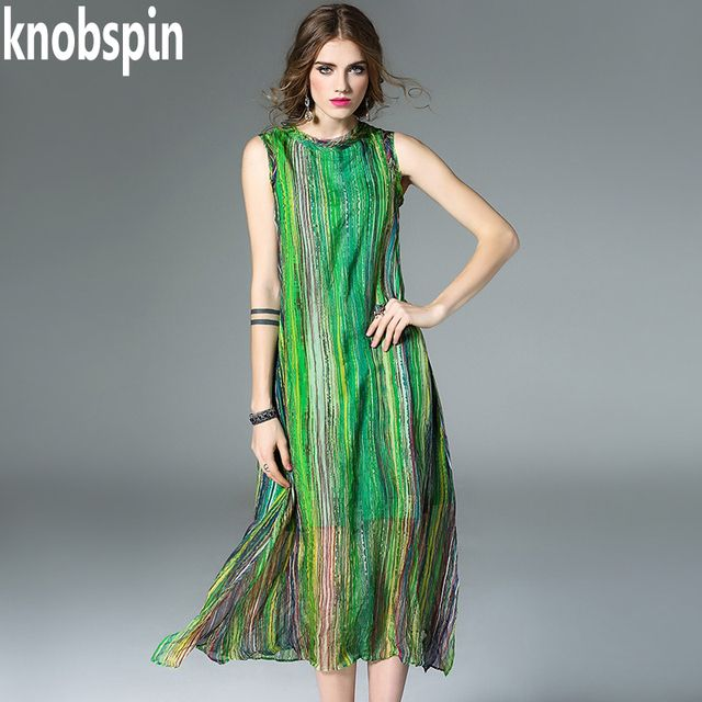 Knobspin brand quality 100% real Silk Colorful Striped Runway dress women's O-neck sleeveless Vestidos plus size 2017 summer