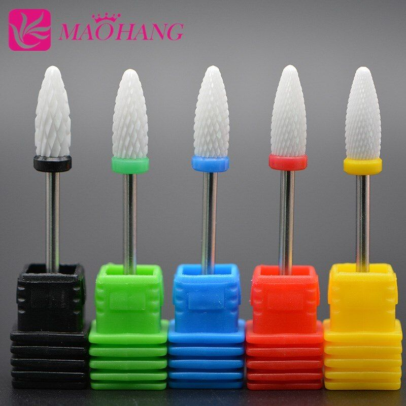 MAOHANG Ceramic nozzle nail drill bit milling cutter for nail electric drill manicure machine to remove acrylic gel nail polish