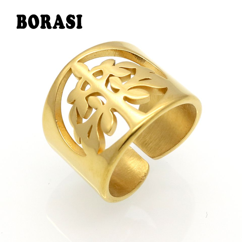 Stainless Steel Leaf Tree of Life Ring Mother's Day Daughter Birthday Anniversary Women Statement Cocktail Party Children Girl