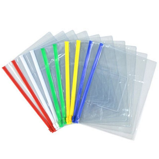 New 20pcs File Bag Stationery Clear Plastic Bag Translucent Folder A4/A5/A6 Size Document Bag File Folder School Office Supply