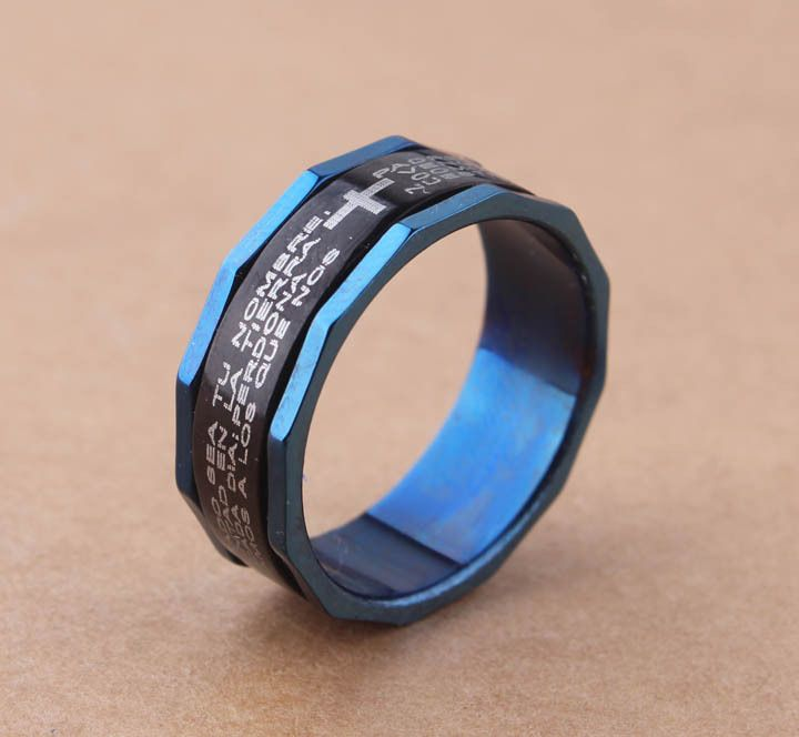 free shipping FREE Wholesale Spain Cross Scripture Stainless Steel Blue Double Layer Can Be Rotating  Rings