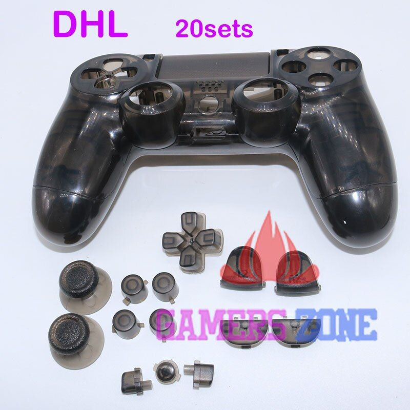 20sets Transparent Black Body Housing Shell Case Cover Part for PS4 Controller Dualshock 4
