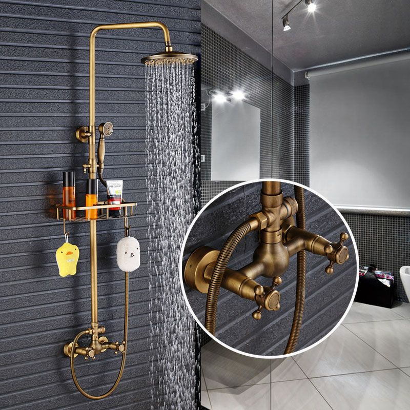 New Arrival Antique Brass Shower Faucet Set 8 Inch Shower Head Hand Shower Sprayer W/ Commodity Shelf Wall Mounted Mixer Tap