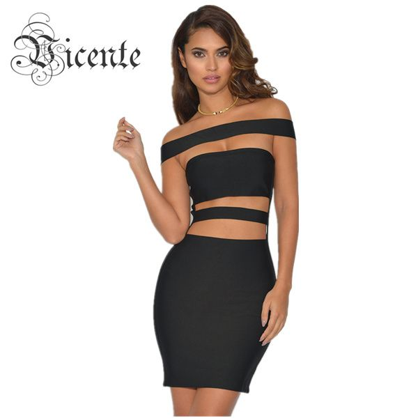 Must Have Hot Style! Free Shipping! Top Runway Fashion Off the Shoulder Cut Off Design Celebrity Party Bandage Dress VJ045