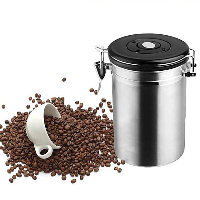 High quality Stainless Steel Sealed Large Coffee Canister Home Kitchen Coffee Sugar Tea Storage