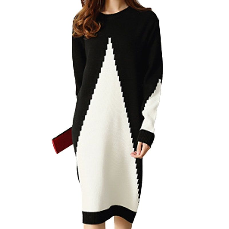 Black White Gray Patchwork Long Sweater Dress Loose Style O-Neck Full Sleeve Knitted Winter Autumn Dress Knee-length Sweater