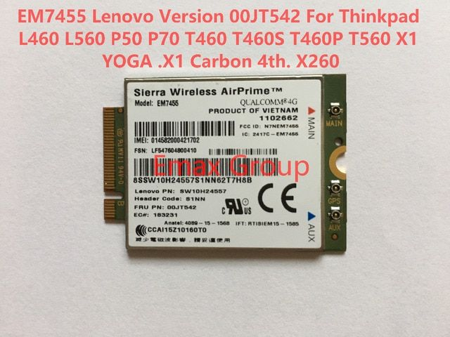 Unlocked EM7455 LTE CAT6 FRU 00JT542  for Thinkpad L460 L560 P50 P70 T460 T460S T460P T560 X1 YOGA X1 Carbon 4th, X260 JINYUSHI
