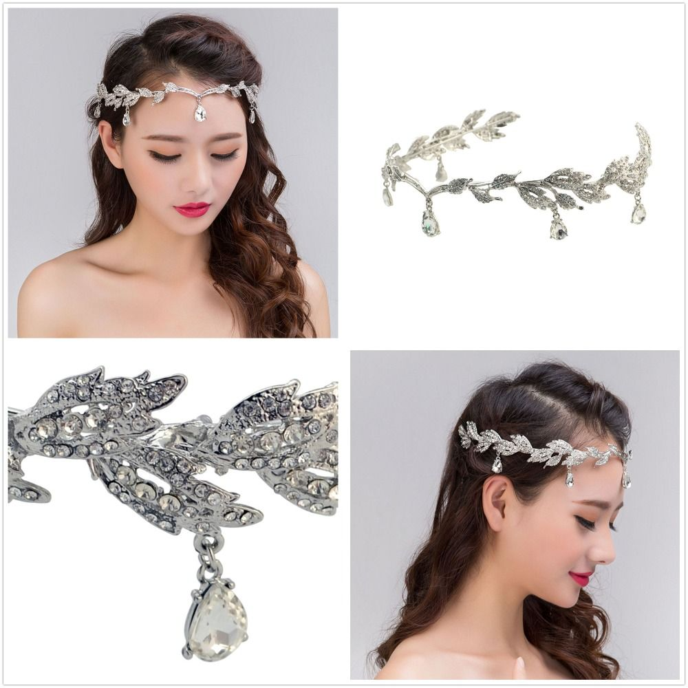 New Fashion Luxury Elegant Vintage Silver Tiaras Crowns Bridal Wedding Jewelry Baroque Headband Hairband Crystal Accessory