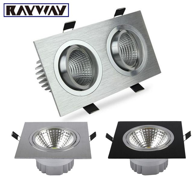 RAYWAY Single/Dual COB Light Source Embedded Square LED Ceiling Down light Recessed 5-30W Dimmable LED Ceiling Downlights Lamp
