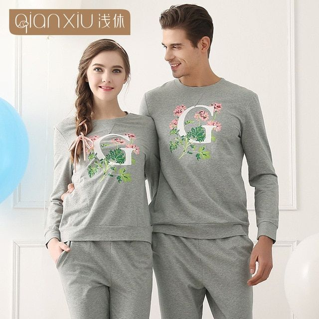 New Qianxiu Couple Pajama Sets Fashion G Flower printing color Homedress Grey color Knitted Modal Pyjamas for couple 1614