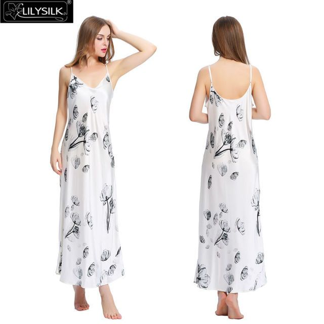 Lilysilk Silk Sexy Long Nightgown Women White 19 Momme Spaghetti Strap Lotus Floral Pure Wedding Summer Night Sleeping Dress