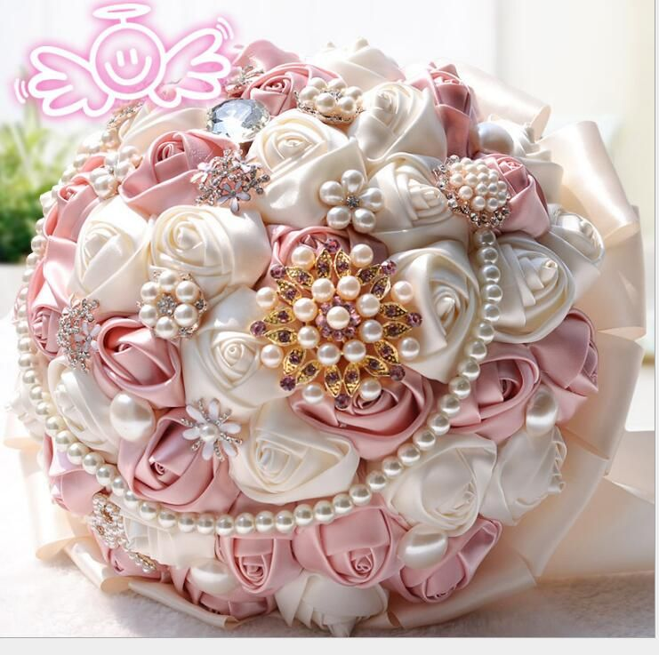 hot style High Quality Artificial Bride Hands Holding Crystal Pearl Silk Khaki Ivory Rose Flowers Bridal Wedding Bouque