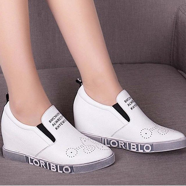2017 newest fashion women spring new arrival genuine leather slip-on letters casual shoes vintage bottom wedges loafers female
