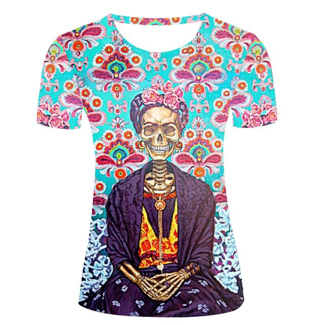 Wholesale 3D T-shirts Women Flowers Frida Gold Skull Print T Shirts Casual Funny Slim Fit Tee Shirts