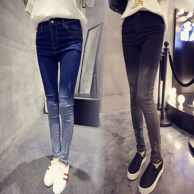Autumn Winter New Thin Gradient Hole Jean Femme Ripped Jeans For Women High Waist Jeans Skinny Female Denim Slim  Pencil Pants