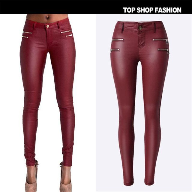 Hot Sale and Good Quality Pu leather pants womens Autumn 2016 fashion pencil trousers for woman Sexy for Female