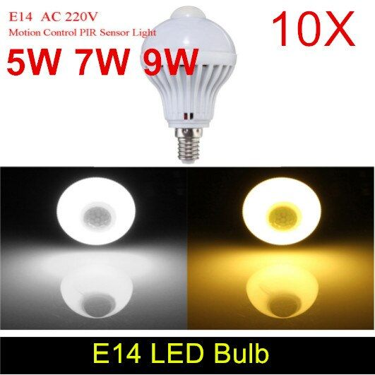 10pcs E14 220V LED PIR Motion Sensor Lamp 5W 7W 9W Led Bulb Sound + Light Sensor Auto Smart Infrared Body Motion Sensor Light