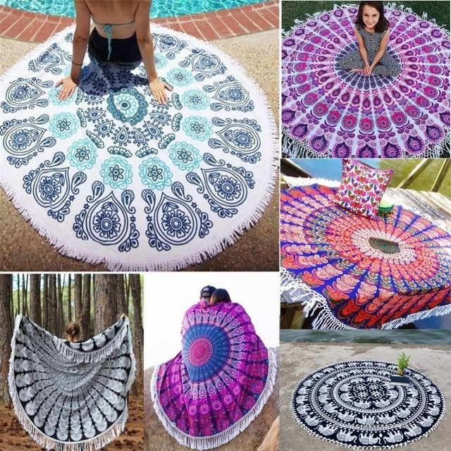 Indian Mandala Round Throw Hippie Women Scarves Bohemian Scarf Girl Wraps Tapestry Blanket Beach Towel Yoga Mat Wall Hanging 21