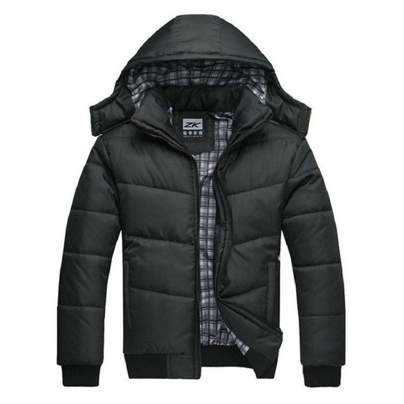 winter jacket men quilted black puffer coat warm fashion male overcoat parka outwear polyester padded hooded down coat