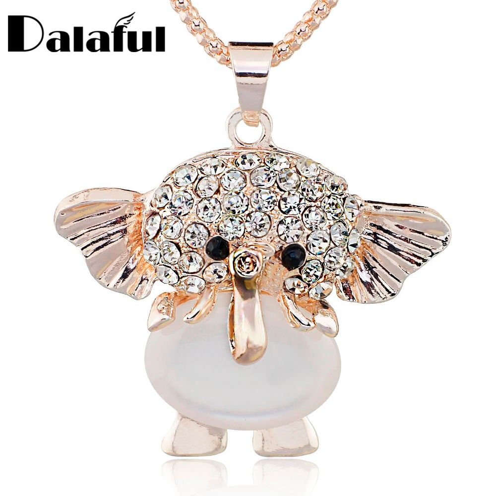 Opals Elephant Shining Crystal Long Chain Necklaces & Pendants Necklace For Women X515