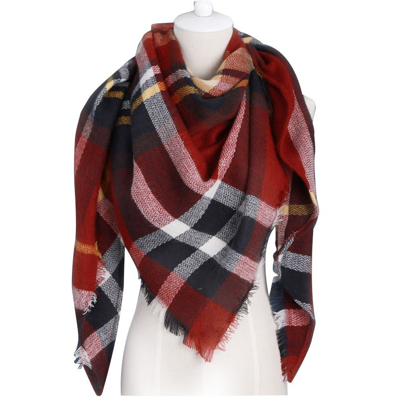Winter Scarf 2019 Brand triangle Tartan Cashmere Scarf Women Wool Plaid Blanket Scarf Pashmina Wrap Shawls and Scarves Hijab