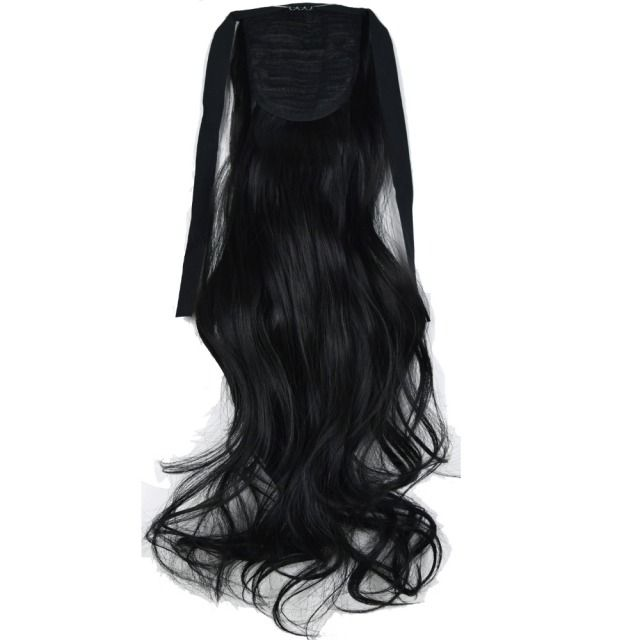 "TOPREETY Heat Resistant B5 Synthetic Fiber 18"" 45cm 90gr Wavy Ribbon Ponytail Extensions 50 Colors Available"
