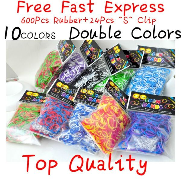 "Fun loom kit double colors glitter rubber bands,tie dye glitter rubber bands, colorful diy loom bands,( 600 bands+24 ""s"" Clip)"