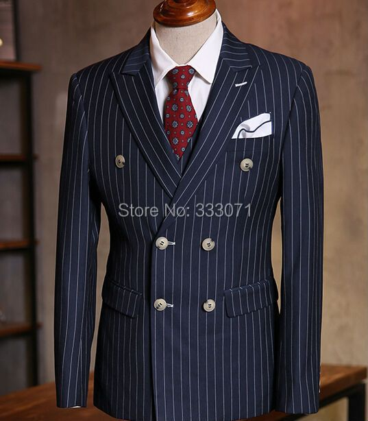Custom Made  Chalk Stripe Men Suits Bespoke Grey Black Dark Navy Blue Groom Tuxedos For Men Double Breasted Wedding Prom Suits