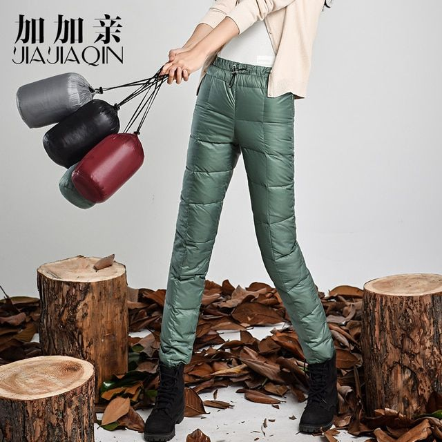 2016 Winter Black Casual Women's warm pants  female Fashion Slim Warm Windproof Plus Velvet Thick Down Pants Trousers #YK15005
