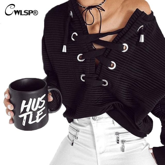 CWLSP Black Hollow Out Hoodies Womens Spring Lace up Sweatershirt Harajuku Pullovers Casual  Holes truien dames QZ1798