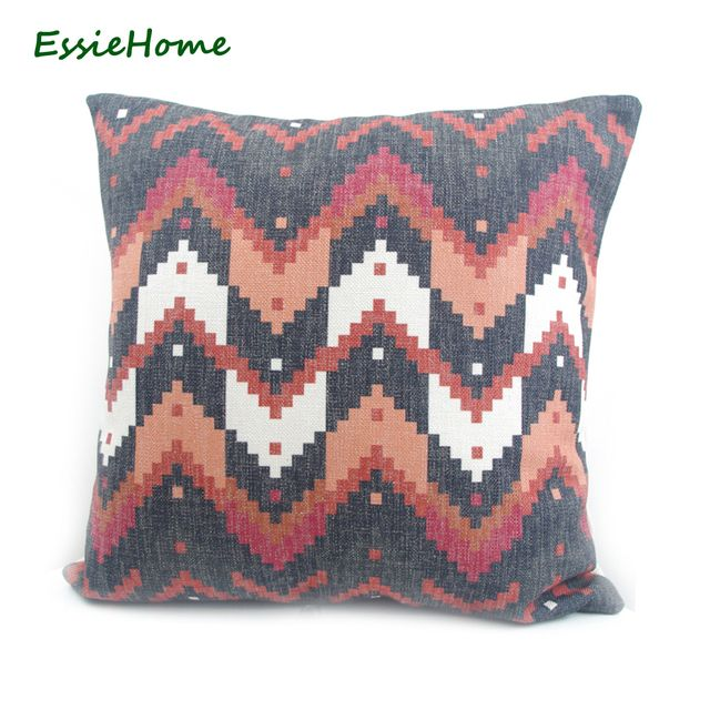 ESSIE HOME High-End Digital Print  Black Turkish Ethnic Kilim Pattern Zigzag Chevron Cushion Cover Pillow Case Home Decoration T