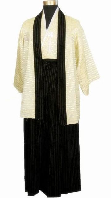 Free Shipping Beige Japanese Men's Warrior Kimono Haori Vintage Yukata With Obi Stage Performance Costume One Size JK052