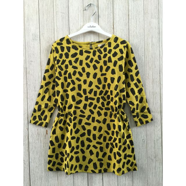 INS Hot Bobo Choses Leopard Print Girl Dress Yellow Cotton A-line Mother Daughter Dress Spring Summer 2016 Family Outfit Dress