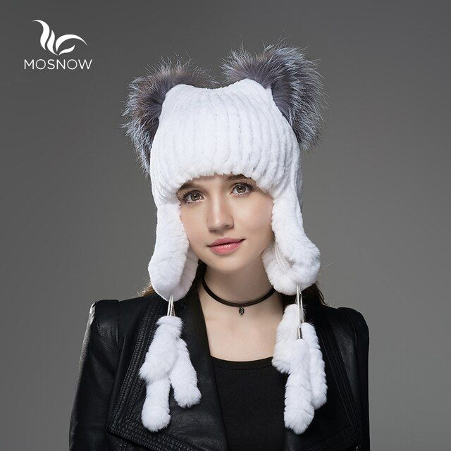 Mosnow New Rex Rabbit Fur Hat Female With Fox Fur Cat Ear And 6 Cute Tails Women Warm Knitted Winter Hats Skullies Beanies