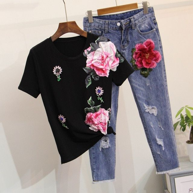 Women floral two piece set Big flower diamond tshirt Cotton white t shirt jeans Appliques ripped embroidery BF jeans Woman suits