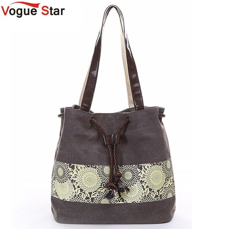 Vogue Star 2019 canvas bag shoulder bags high quality purse women handbag bucket flower printing ladies designer bags LA242