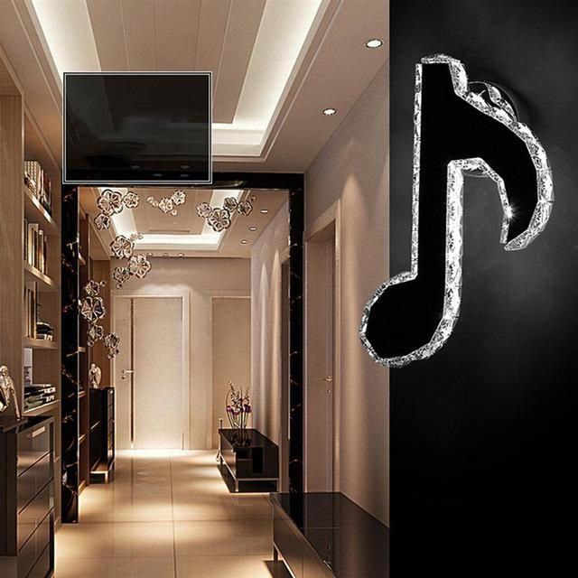 K9 Crystal Bedroom Mount Light Fixture Note Shaped LED Living Room Minimalist Wall Sconces Light Bedroom Wall Lighting