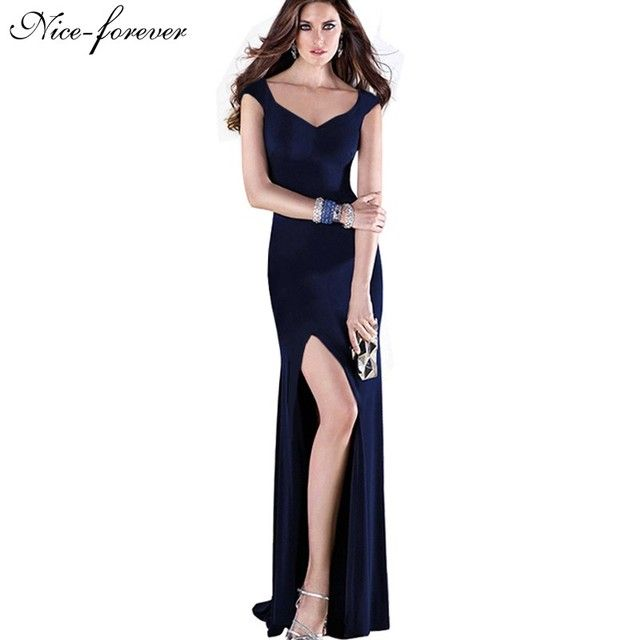 Nice-forever New Sexy V-Neck Brief Summer Solid Color Elegant Women Sleeveless Stretched Maxi Split Prom Bodycon Long Dress B301