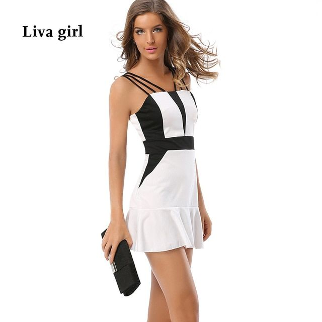 2017 Summer Silm Sexy White Patchwork Sleeveless Three Spaghetti Strap Casual Mini Dress Work Ruffled Bodycon Dress 9008