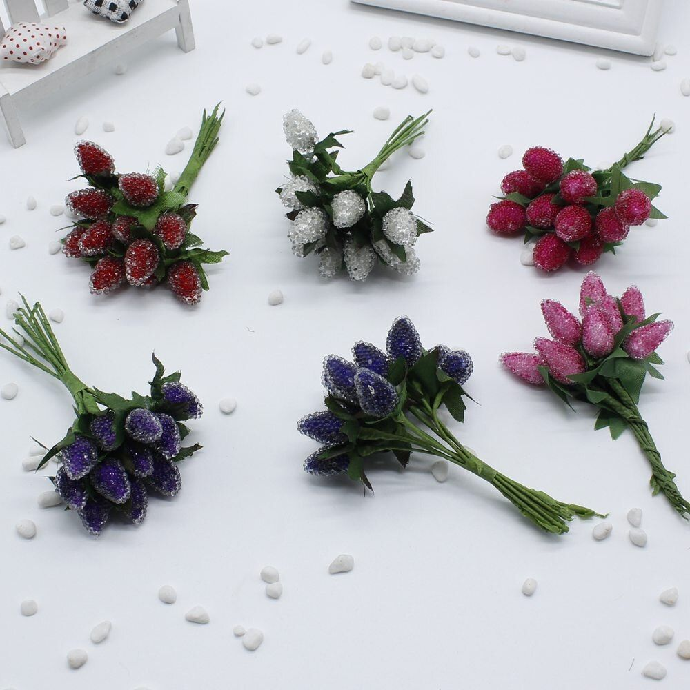 12pcs/lot Christmas Red Cherry Stamen Small Glass Berries Artificial Flower Pearlized Wedding simulation glass Strawberry Decora