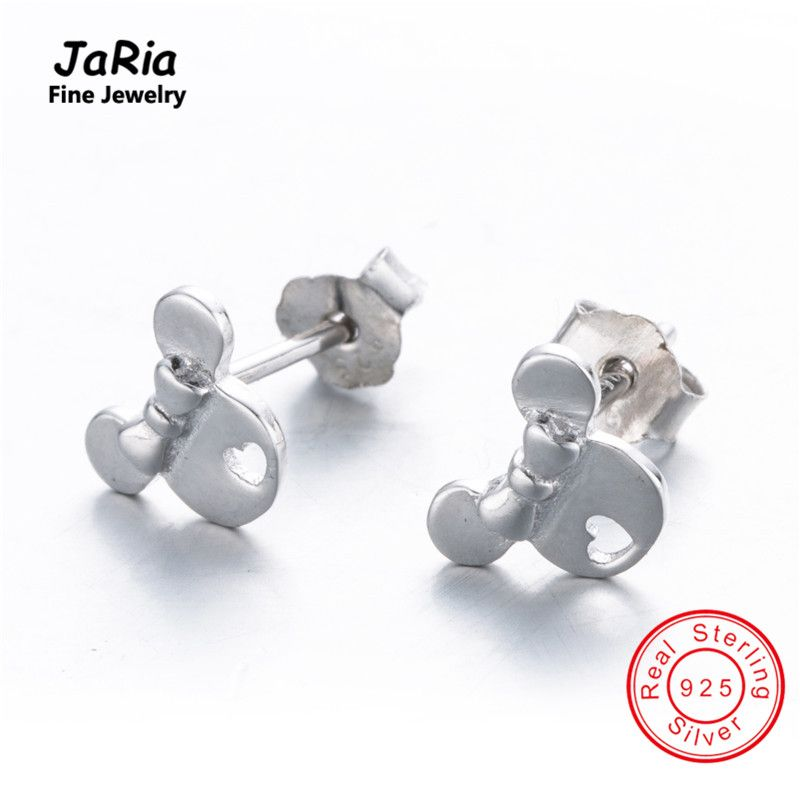JaRia Fine Jewelry Women Jewelry Sterling Silver Cute Mouse Head Earrings S925 Silver Earrings SEA011